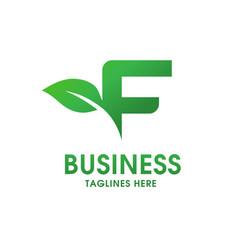letter f with leaf logo vector image