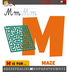 letter m from alphabet with maze object vector image
