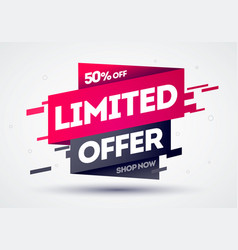 limited offer label web banner with glitch effect vector image