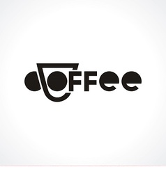 Logo with cup and text coffee vector