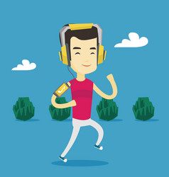 man running with earphones and smartphone vector image
