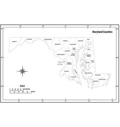maryland state outline administrative map vector image