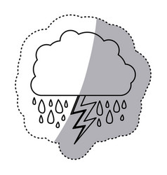 Monochrome contour sticker of cloud with rain and vector