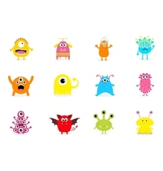 Monster big set Cute cartoon scary character vector