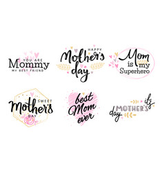 mothers day hand lettering collection set vector image
