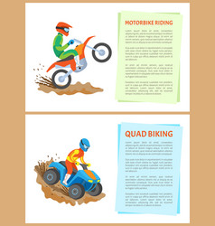 motorbike riding and quad bike hobsports set vector image