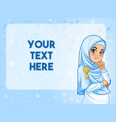 muslim woman having her hand under chin vector image