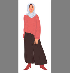 muslim woman in headscarf and dress islamic vector image