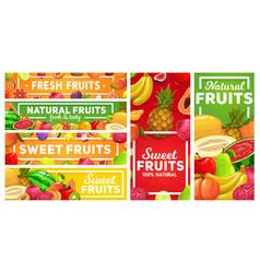 Natural tropical fruits market banners vector