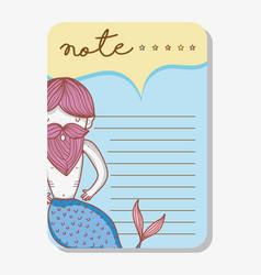 note with mermaid cartoons vector image