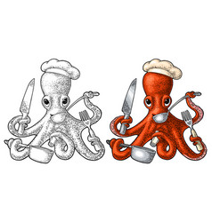 Octopus holding knife fork pan black vector