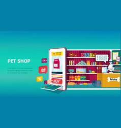 Online pet shop digital app on a mobile phone vector
