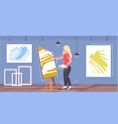 painter using paintbrush and palette woman artist vector image