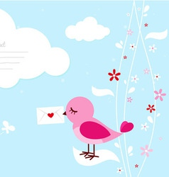 Pink bird with love letter vector