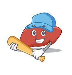 Playing baseball liver character cartoon style vector