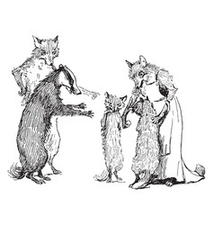 Reynard the fox reynards family vintage vector