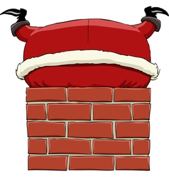 santa in the chimney vector image