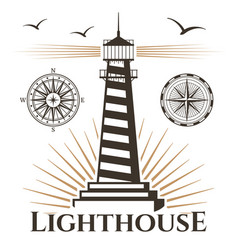 sea nautical lighthouse and vintage compasses vector image