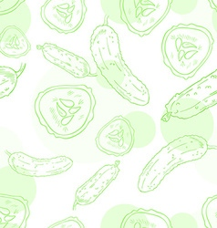 seamless pattern with cucumber and its slice vector image