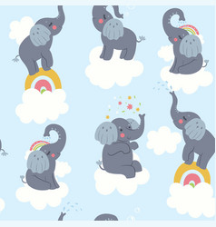 seamless pattern with cute elephants and clouds vector image