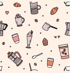 Seamless pattern with pastry milkshake tools and vector