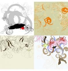 set 10 floral background vector image