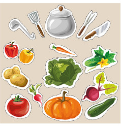 set collection with vegetables stickers patches vector image