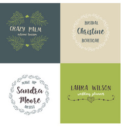 set of handdrawn floral logos vector image