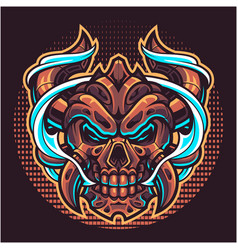 skull devil head mascot logo vector image