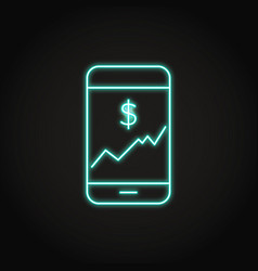 smartphone with chart icon in neon line style vector image