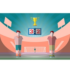 Soccer Match Players on the Playfield with Gold vector