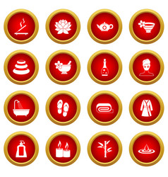 Spa treatments icon red circle set vector