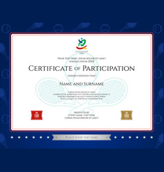 Sport theme certification of participation vector