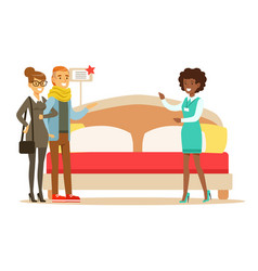 Store seller demonstrating king size bed to couple vector