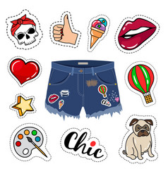 trendy jeans shorts vector image