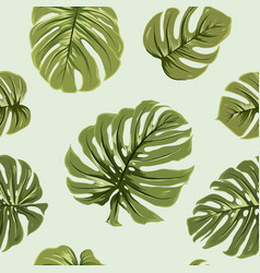 tropical exotic big green monstera leaves pattern vector image