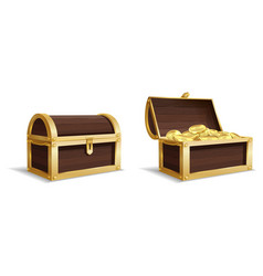 two large chests open closed chest pile vector image
