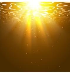 Underwater orange background with sun rays vector
