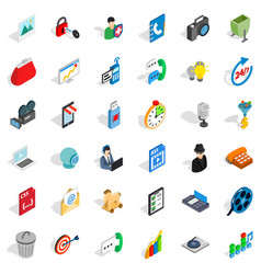 Web mobile icons set isometric style vector