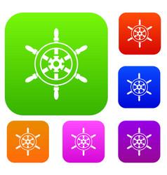 Wheel of ship set collection vector