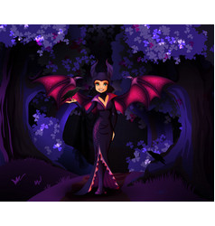 witch character in front dark forest vector image