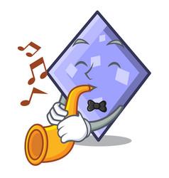 with trumpet rhombus mascot cartoon style vector image