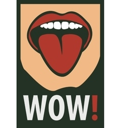 Women mouth screaming wow vector image
