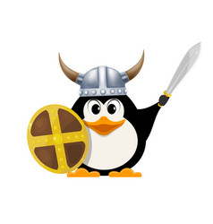 iittle penguin in a viking costume child penguin vector image