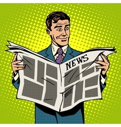 Man businessman reading news newspaper vector image