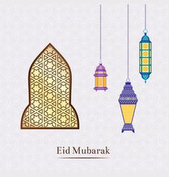 ramadan with hanging lanterns vector image