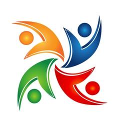 Swooshes teamwork union logo vector image vector image