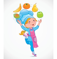 Baby cook juggles fruits vector image vector image