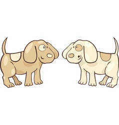 cartoon illustration of two cute puppies vector image vector image