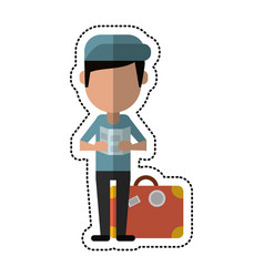 cartoon man with travel bag and map vector image